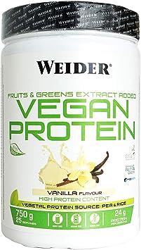 comprar Weider Vegan Protein. Sabor Mango-Matcha. Proteína 100% vegetal de guisantes (PISANE) y arroz. Sin gluten. Sin lactosa. Sin aceite de palma (750 g)
