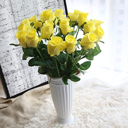 Amazon 15pcs Artificial Flowers Pu Rose Flower Valentines