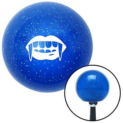 American Shifter 25178 Blue Metal Flake Shift Knob White Mouth with Fangs