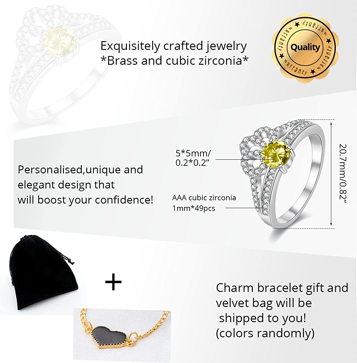Y2735 Uloveido Womens White Gold Plated Diamond Cut Round Cubic Zirconia Princess Crown Promise Wedding Rings Yellow, Pink, Blue, Multi, Purple, Size 6 7 8 9