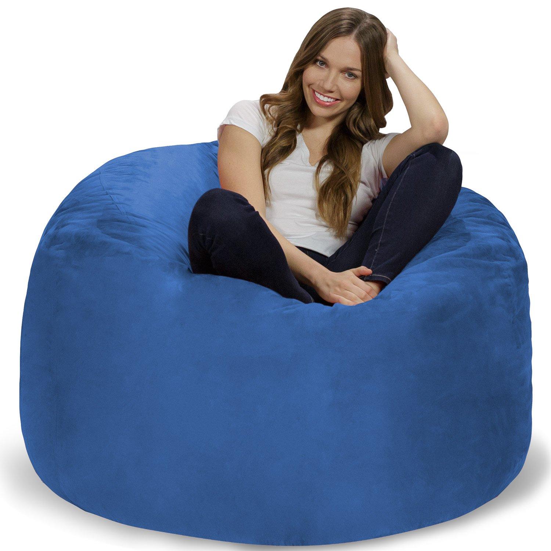 Chill Sack Bean Bag Chair: Giant 4' Memory Foam Furniture Bean Bag - Big Sofa with Soft Micro Fiber Cover - Royal Blue by Chill Sack