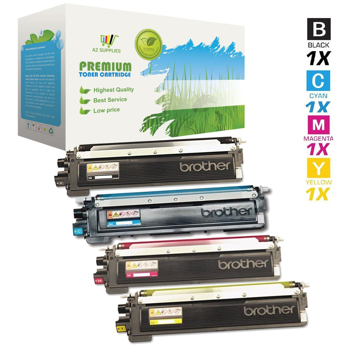 AZ Supplies Compatible Toner Cartridges Replacement for Brother TN210 for use in HL-3040CN, HL-3045CN, HL-3070CW, HL-3075CW, MFC-9010CN, MFC-9120CN, MFC-9125CN,MFC-9320CW,MFC-9325CW (B,C,Y,M, 4-Pack).