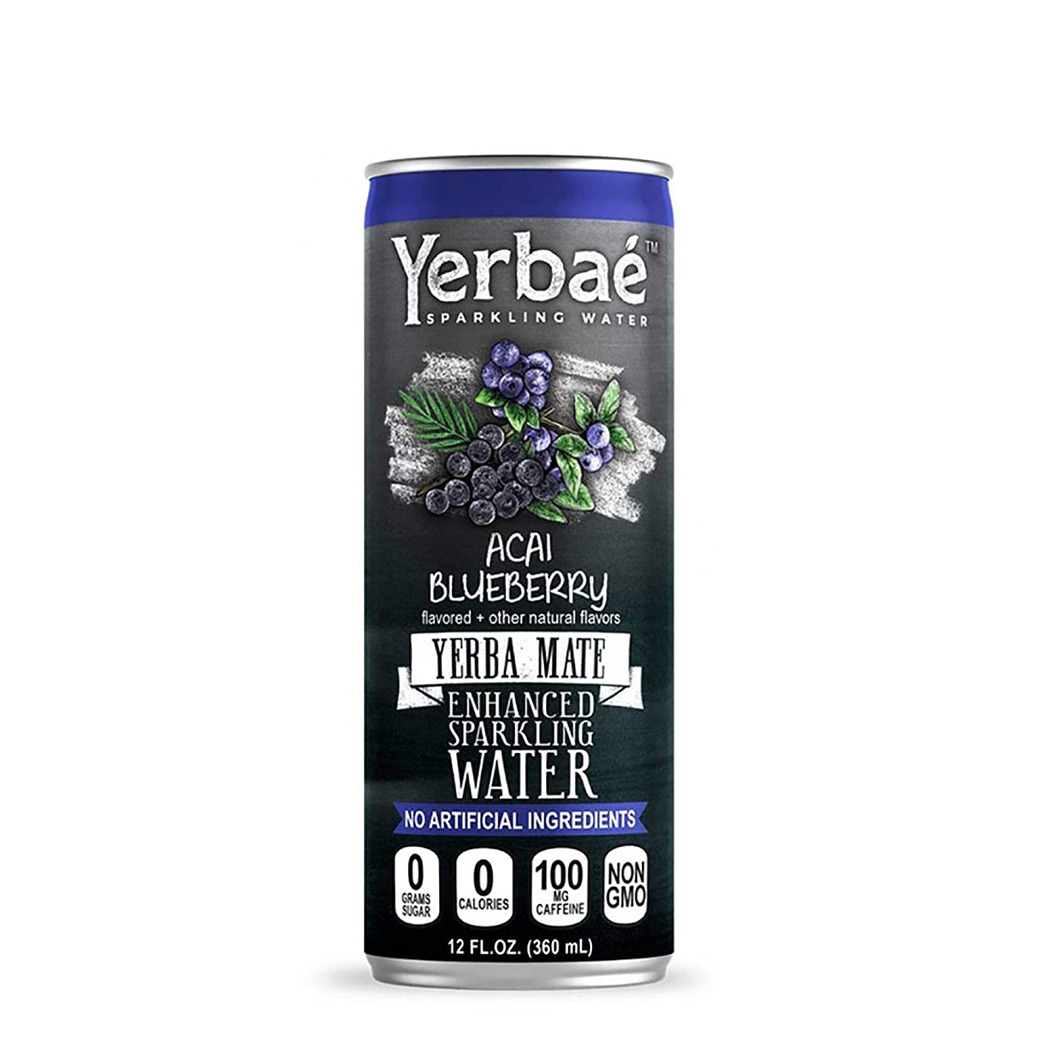 Yerbae Sparkling Water – Acai Blueberry Fruit Flavored Seltzer with Caffeine, Antioxidants, Yerba Mate Natural Energy Drink – 12 Pack of 12oz Cans – Zero Sugar, No Calories, Non-GMO
