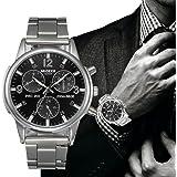Watch,Han Shi Man Fashion Business Crystal Stainless Steel Analog Quartz Wrist Watch Clock