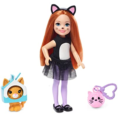 ​Barbie Club Chelsea Dress-Up Doll in Cat Costume with Accessories, 6-Inch, Red Hair, for 3 to 7 Year Olds: Toys & Games