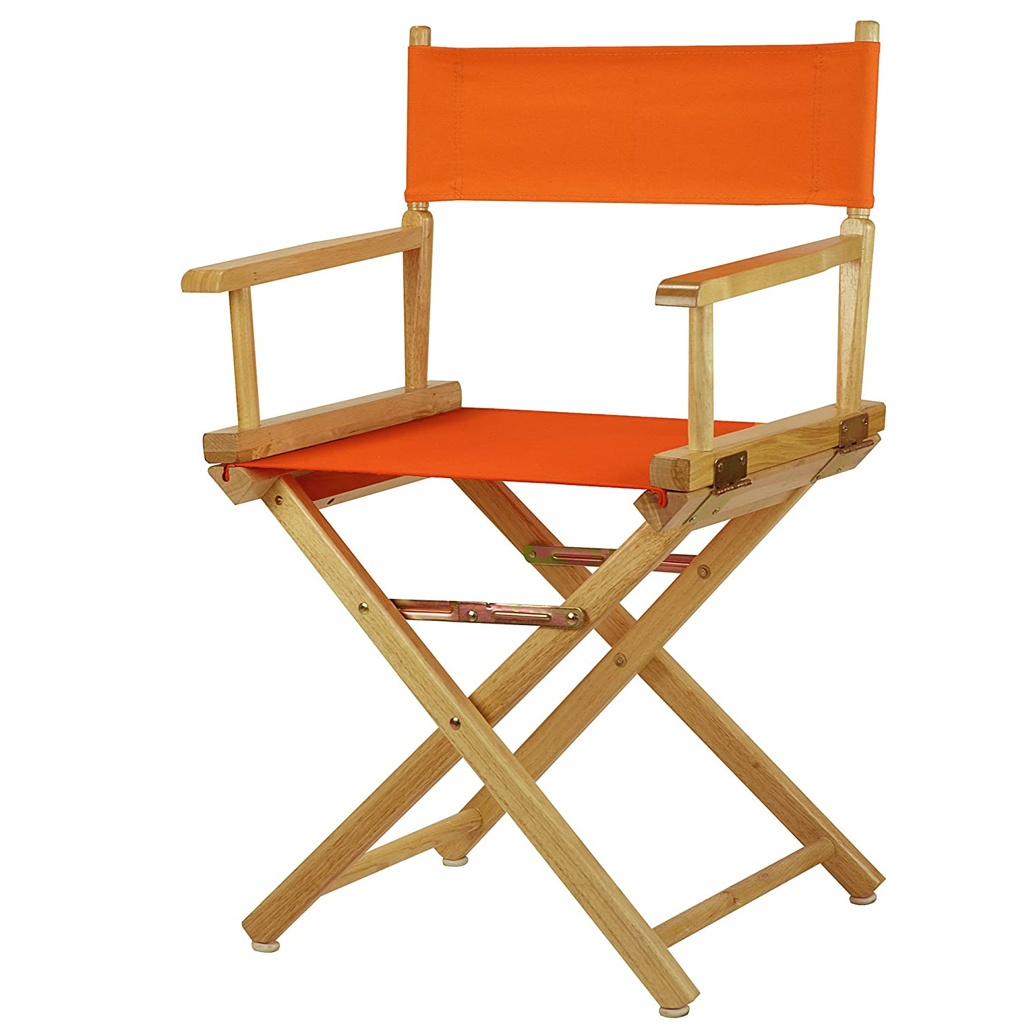 Tangerine 18-Inch Casual Home 30-Inch Director Chair Natural Frame, Black Canvas