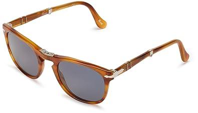 cf1320f2cd59 Persol Men's 3028 Striped Brown Frame/Blue Lens Plastic Sunglasses ...