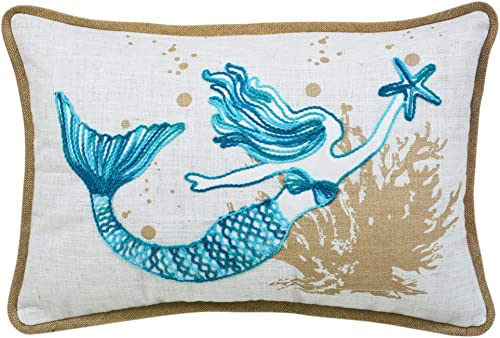 Ocean Sea Mermaid Starfish Coral Coastal Accent Throw Pillow Cushion for Marine Animal Lovers