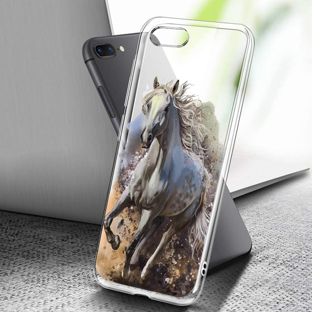 for iPhone 6, for iPhone 6S, Clear Transparent Art Design Soft Back Case Phone Cover, A0143 Running Horse
