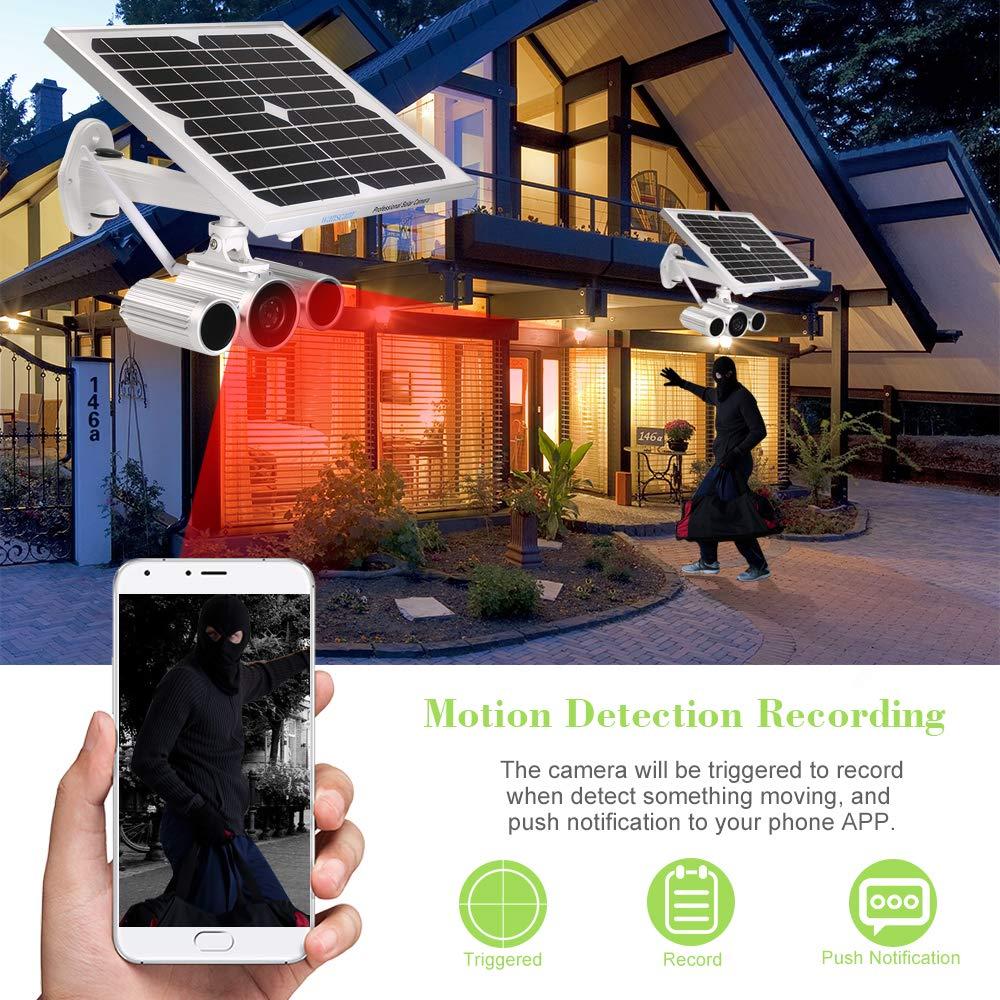 OWSOO Cámara Bala de Vigilancia HD 1080P WiFi Cámara IP Inalámbrico Solar y de Batería IR-CUT Visión Nocturna Impermeable Onvif Cámara de Seguridad HW0029-5 ...