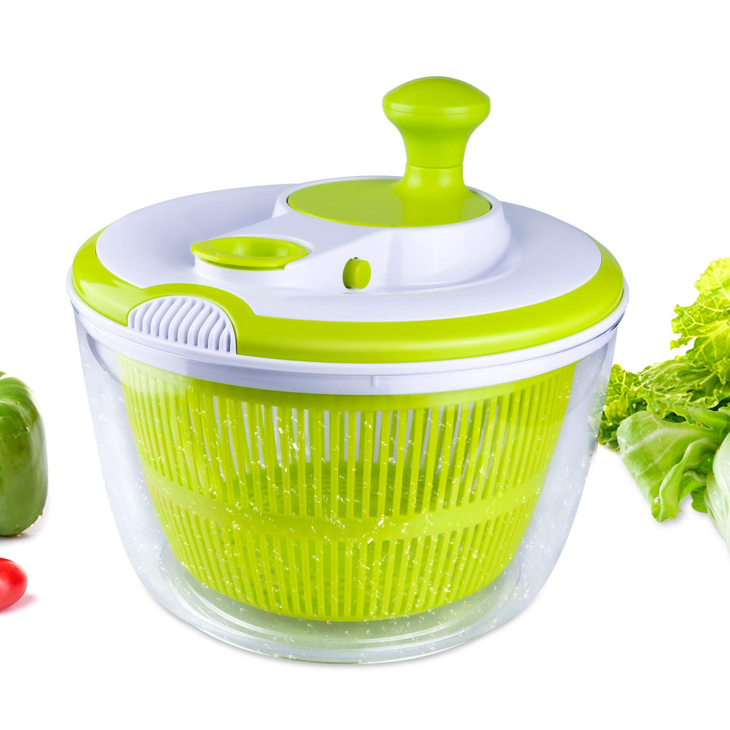 5 Quarts Salad Spinner BPA Free, Fruit and Vegetable Manual Lettuce Dryer Washer, Large, Clear, Green by WOKELINK