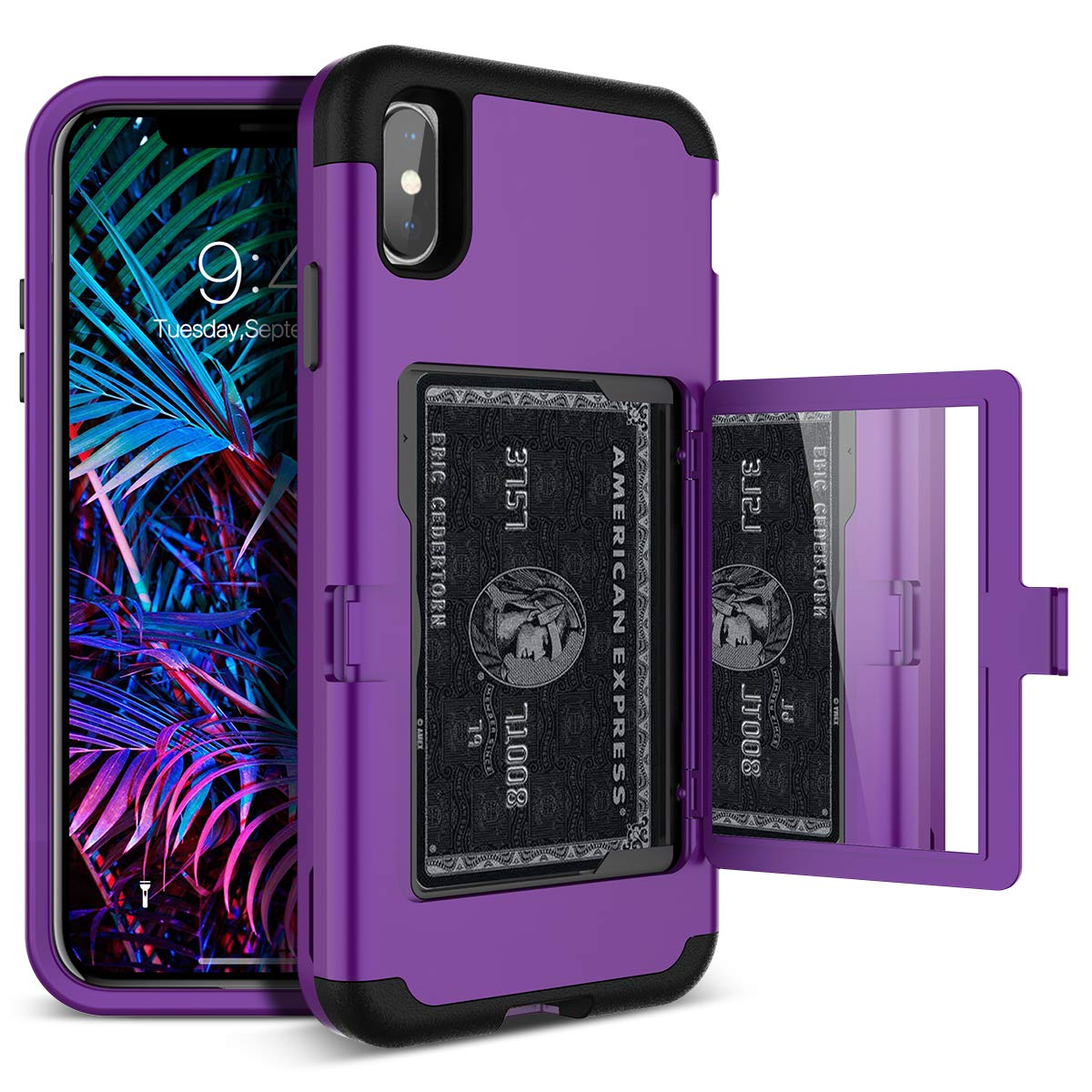 iPhone Xs Max Wallet Case - WeLoveCase Defender Wallet Card Holder Cover with Hidden Back Mirror Heavy Duty Protection Three Layer Shockproof Armor Full Protective Case for iPhone Xs Max - Purple