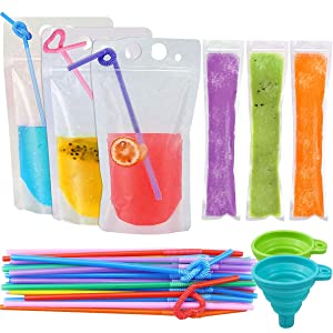 """SelfTek 30 Pcs Zipper Drink Bags Pouches with 30 Pcs Straws, 60 Pcs Disposable Ice Popsicle Bags(8x2"""") with A Funnel for Healthy Snacks, Yogurt Sticks, Juice & Fruit Smoothies, Ice Candy Pops"""
