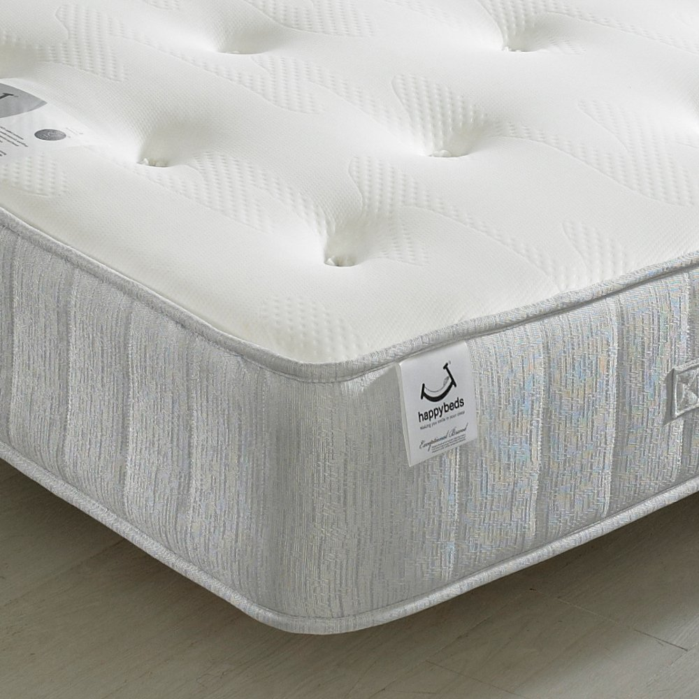 happy beds memory foam open coil spring pearl contour medium soft