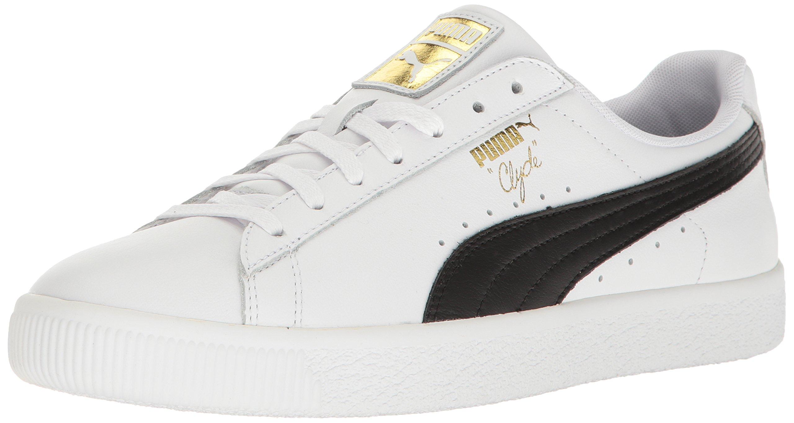 PUMA Men's Clyde Sneaker, White Blac, 7.5 M US