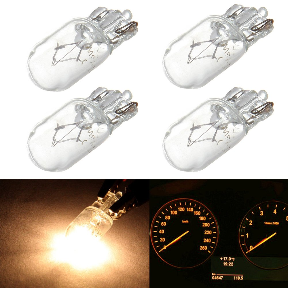 cciyu 4 pcs Warm White T10 Wedge Halogen W5W 168 194 2825 175 LED Interior Light Bulbs