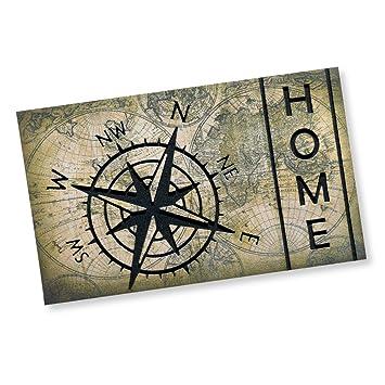 roller fußmatte compass old map - grau - 45x75 cm: amazon.de ... - Fußmatte Küche