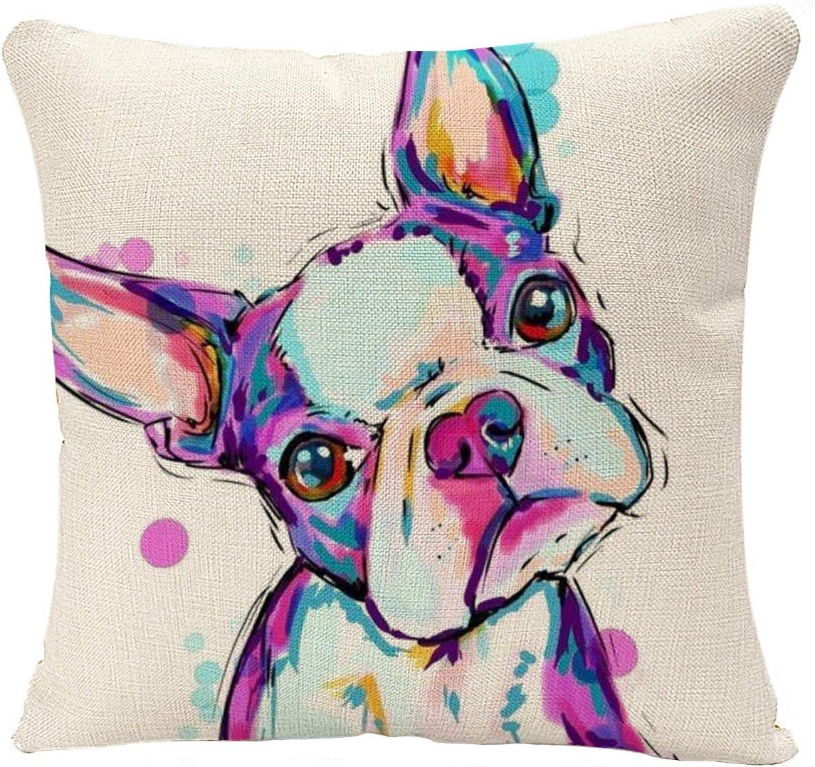 YGGQF Animal Throw Pillow Cover Boston Terrier Dog Decorative Cushion Bulldog Throw Pillow Car Chair Home Decor Pillow Case for Sofa 18x18 Inches