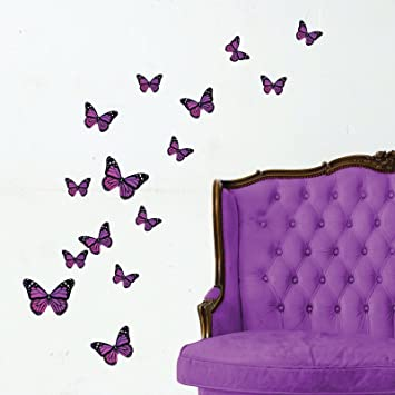 Beau Monarch Butterfly Wall Stickers, Purple