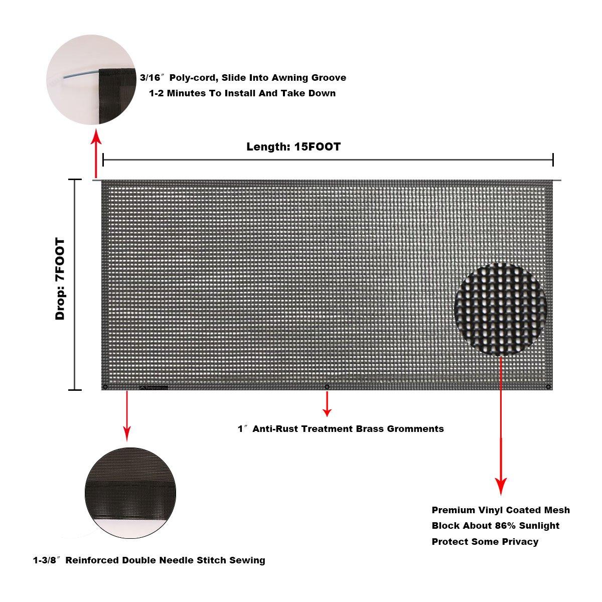 Tentproinc RV Awning Shade Screen 7X19 Gift Blue Sunshade Camping Trailer UV Sun Blocker Complete Kits 3 Years Limited Warranty
