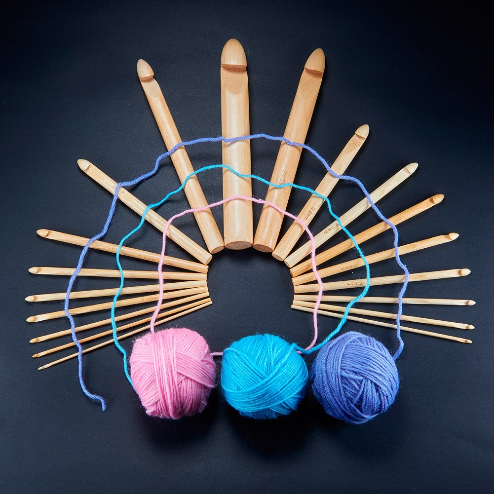 BENECREAT 57PCS Crochet Tools - 19PCS Bamboo Crochet Hooks Set with 38pcs Knitting Accessories, Ideal for Crocheting, Lace, Doilies & Flower Projects by BENECREAT (Image #7)