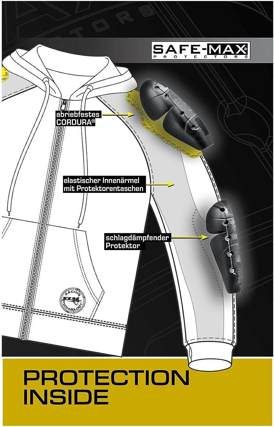 FLM Hoodie Schulter- und Ellbogenprotektoren Einschubtaschen Sweetjacke Hoodie mit Protektoren M-3XL Motorrad-Hoodie elastische /Ärmelb/ündchen und Jackensaum