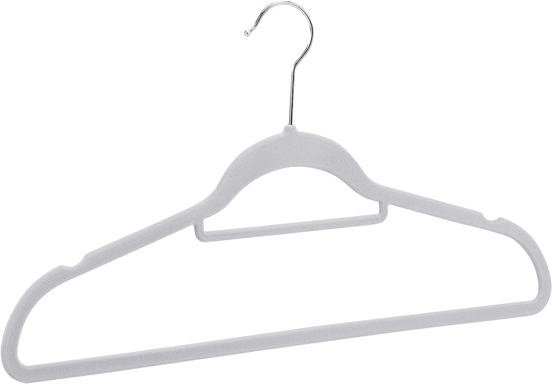 Basics color gris oscuro Perchas de terciopelo para trajes con gancio per cravatte 50 unidades