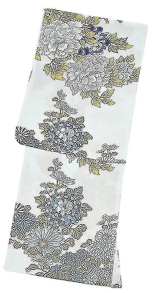 [ KIMONOMACHI ] オリジナル 浴衣2点セット「薄水色に牡丹と菊」 B073W9NFBC   F