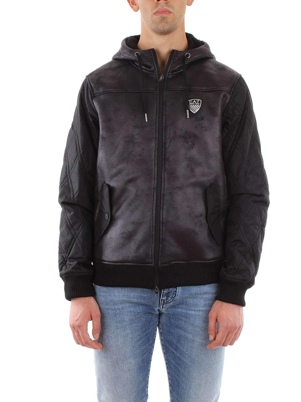 82e979894 Emporio Armani EA7 Faux Leather Mix Hooded Bomber Jacket Black 6ZPBA5 PN54Z