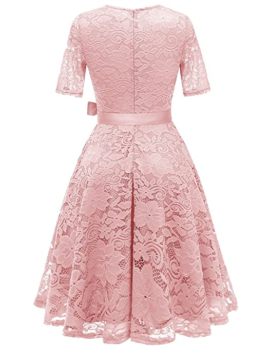 DRESSTELLS Short Scoop Bridesmaid Floral Lace Dress Cocktail Formal Swing Dress at Amazon Womens Clothing store: