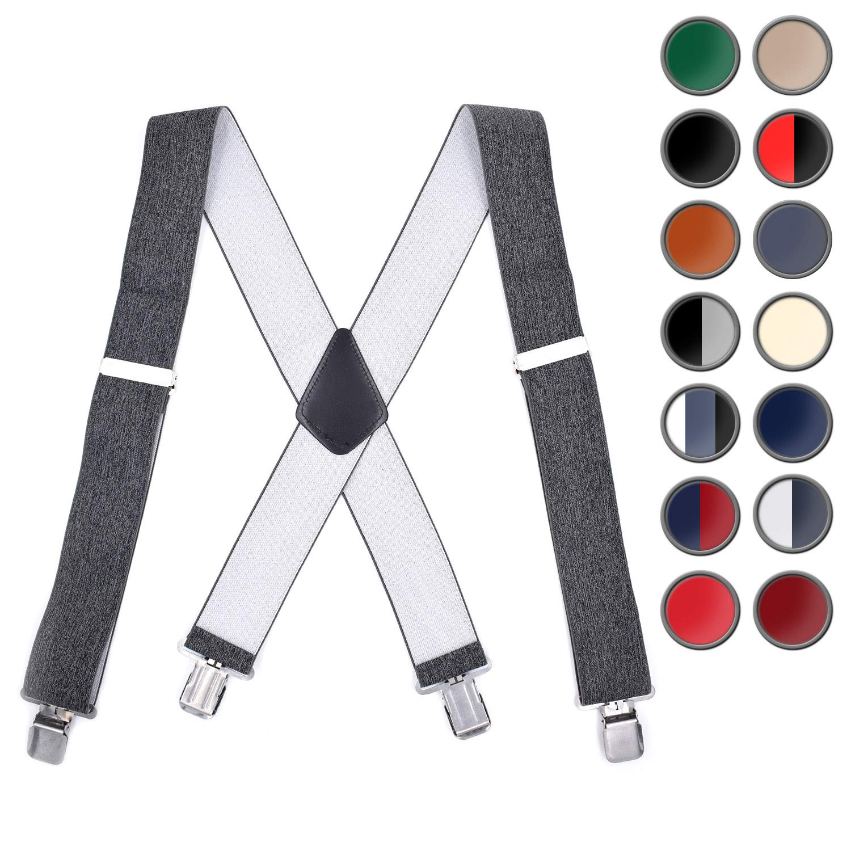 Brooben Men Suspenders Adjustable Elastic 2 Inch Wide Strong Clip Black SP2-Black