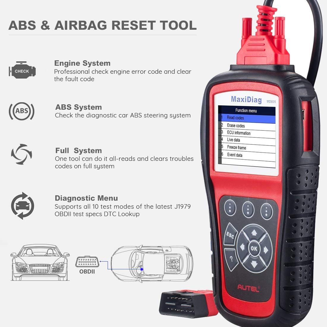 Autel MaxiDiag MD805 OBD2 Scanner Full System Diagnostic Tool with Engine, Transmission, ABS, Airbag, EPB, Oil Reset -Advanced Version of MD802 by Autel (Image #2)