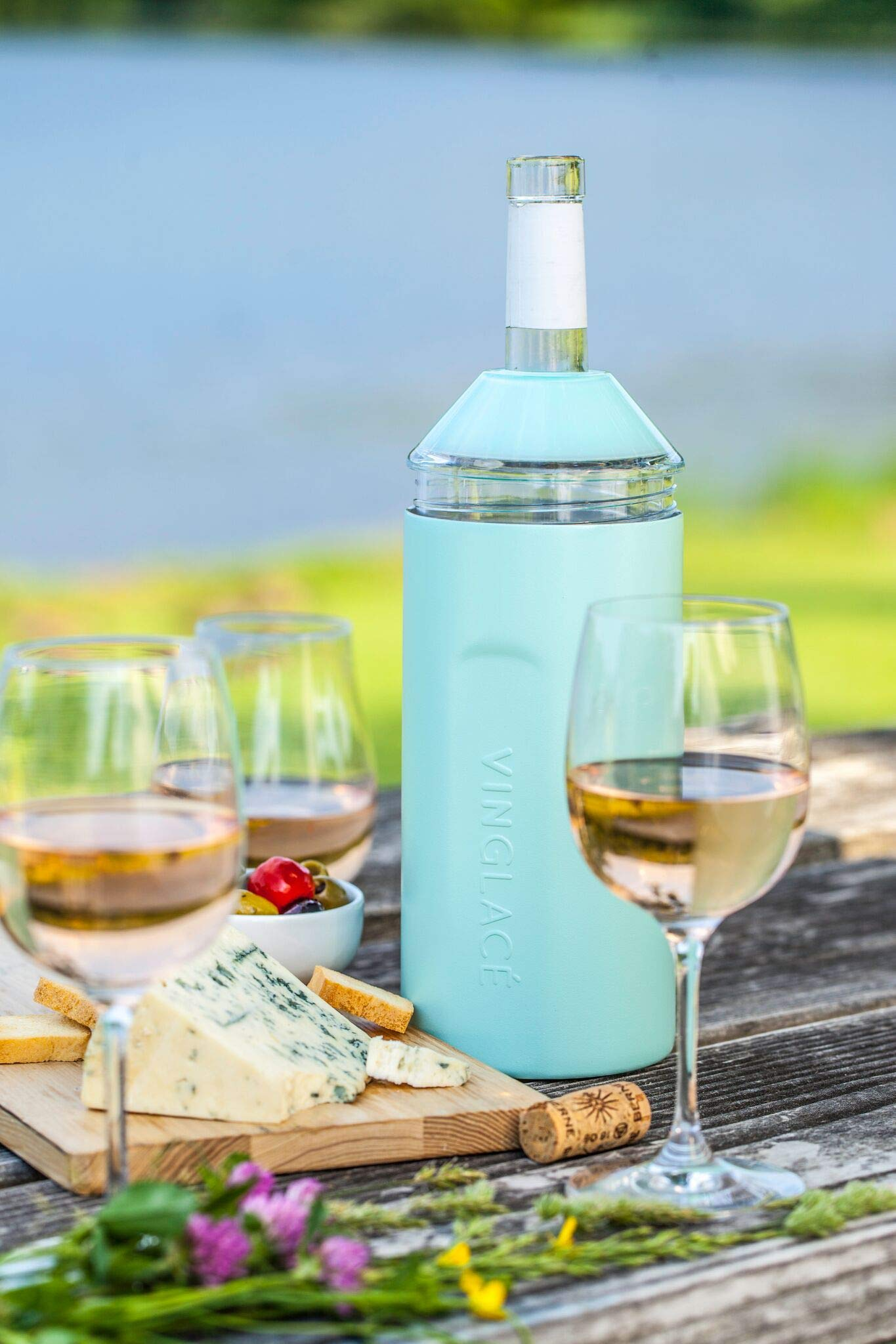 Vinglacé Wine Bottle Insulator | Stainless Steel | Double Walled | Vacuum Insulated | Tritan Plastic Adjustable Top | Keeps Wine & Champagne Cold for Hours | 10'' x 11'' x 12'' | Sea Glass Green