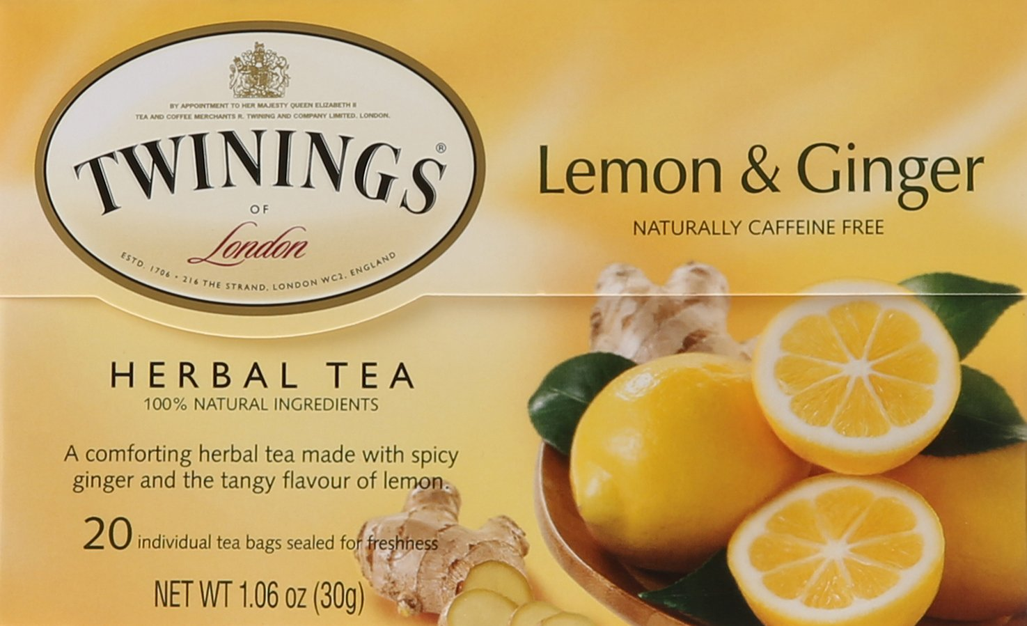 Twinings of London Lemon & Ginger Herbal Tea Bags, 20 Count