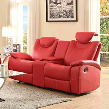 Talbot Double Reclining Loveseat In Red Leather By Homelegance