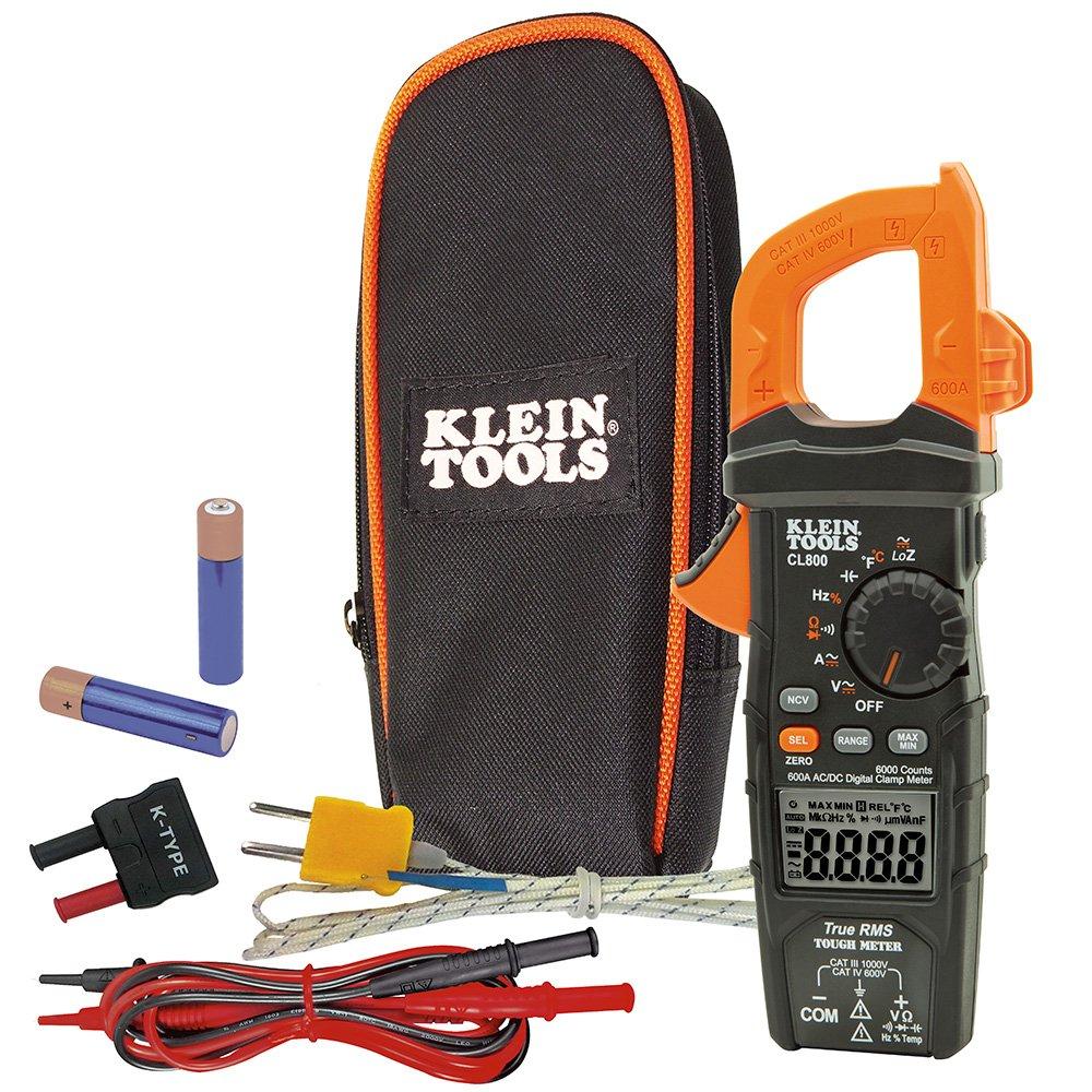 Digital Clamp Meter AC/DC Auto-Ranging 600 Amp Measures Voltage, Resistance, Temp, More Klein Tools CL800