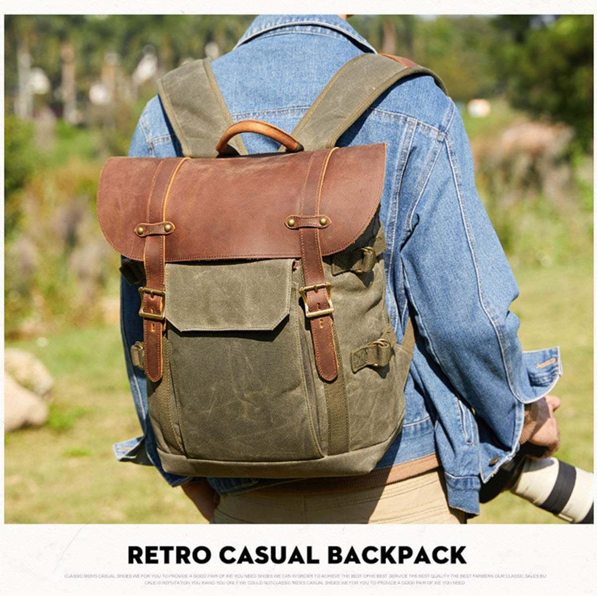 OLDFAI Camera Bag Backpack Canvas DSLR//SLR//Mirrorless Waterproof for Nikon Canon Sony Lens Accessories Vintage with 15 Laptop Compartment and Tripod Strap for Photographer Hiking,ArmyGreen