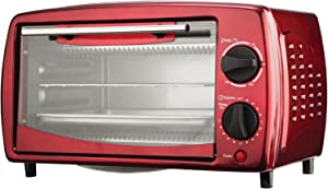 Brentwood Toaster Oven Stainless Steel, 4-Slice, Red