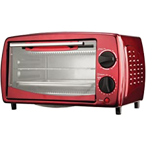 Brentwood TS-345R Toaster Oven Stainless Steel, 4-Slice, Red