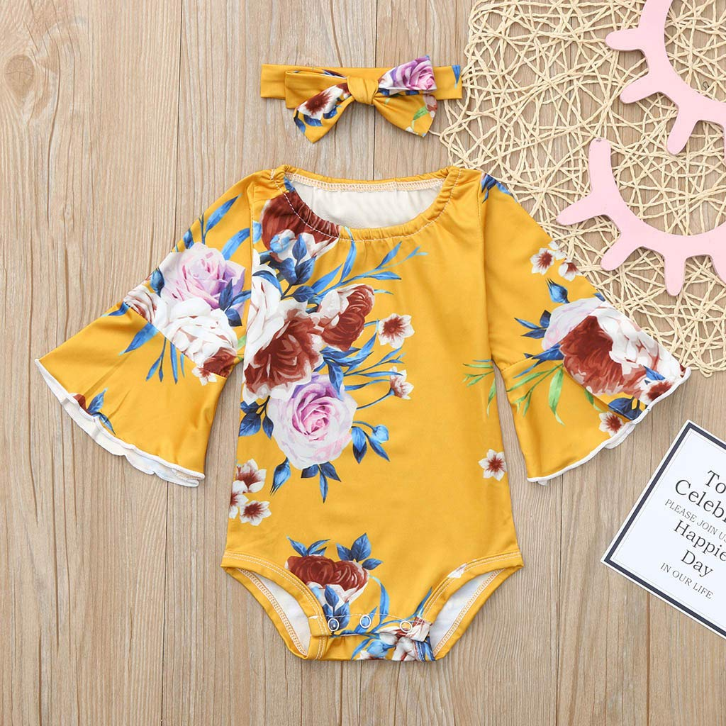 Lanhui Infant Baby Long Sleevel Floral Print Jumpsuit,Girls Romper+Headband Outfits