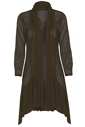 New Ladies (2838) Crochet Net Open Long Waterfall Cardigan Top One ...