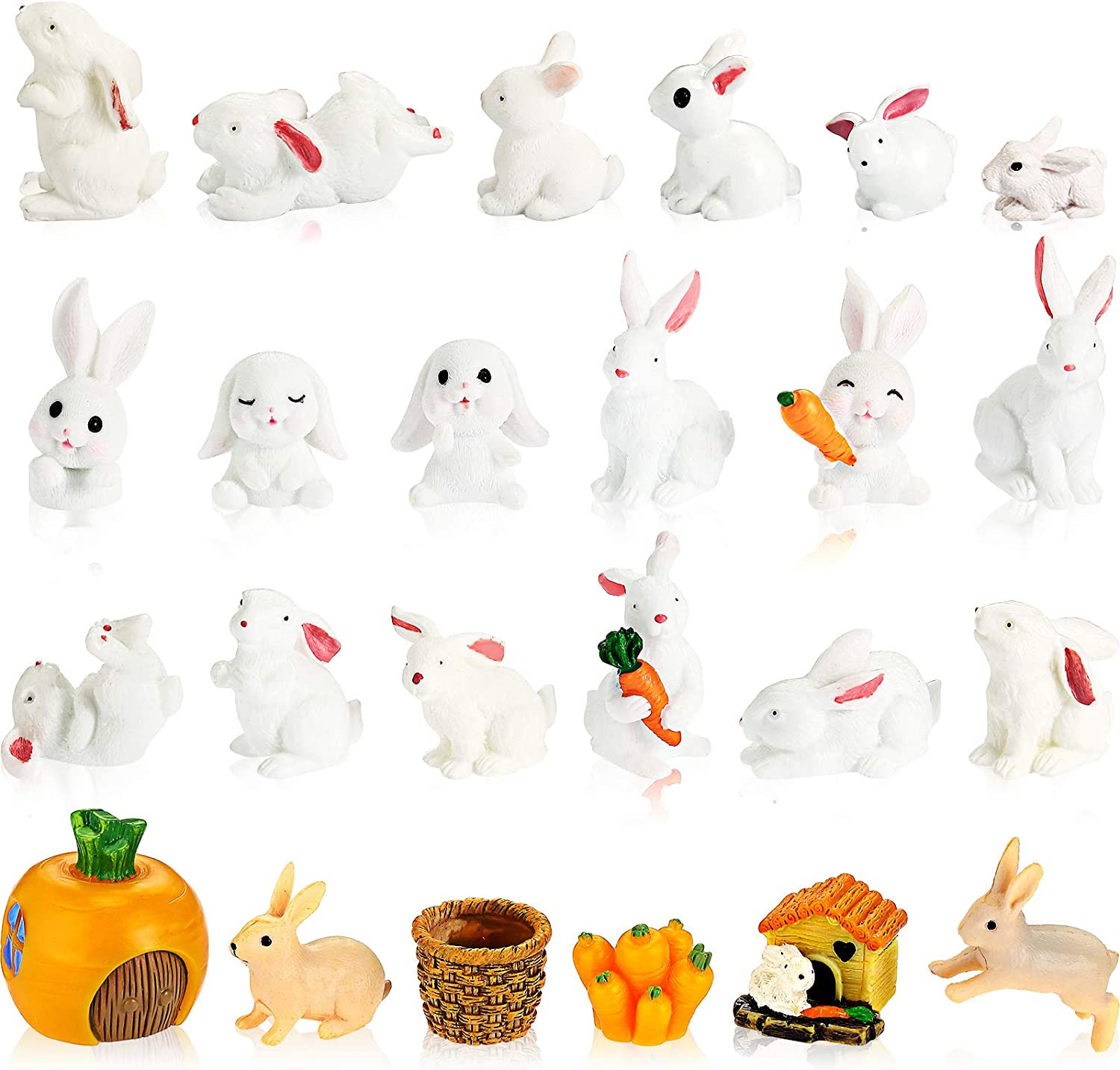 24 Pieces Easter Mini Bunny Figurines Cute Animal Rabbit Figure Rabbit Characters Cupcake Toppers Rabbit Miniature Figurines Ornaments Collection for Easter Day Christmas Birthday Craft Decorations