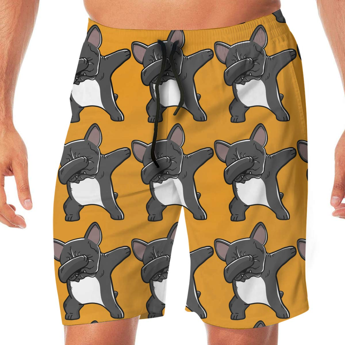SEXTDSFD Dabbing Pug Mens Running Casual Short Beach Pants Swim Trunks Drawstring Board Shorts Swimwear