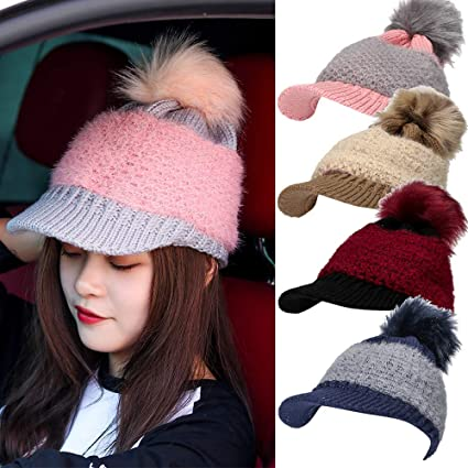 5e2048f845a Image Unavailable. Image not available for. Color  Women Winter Pom Pom Visor  Beanie Hat with Warm Fleece Lined
