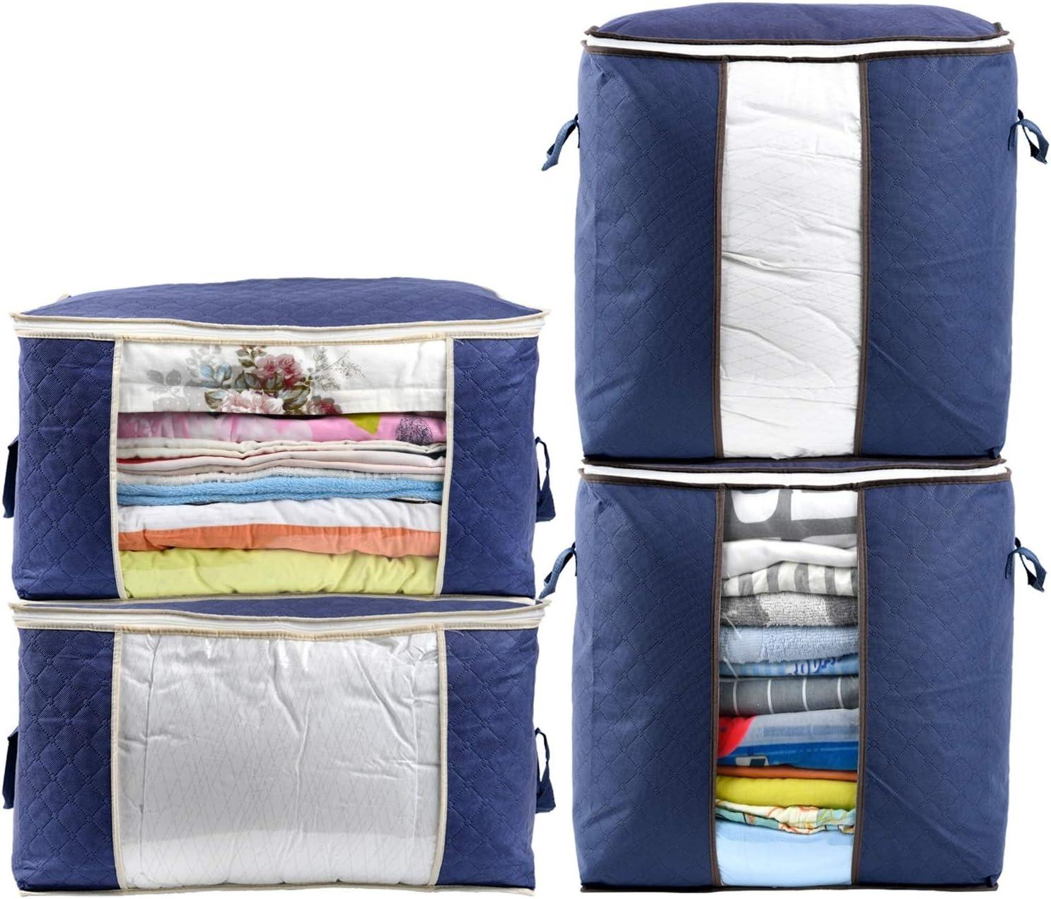 almohadas mantas ropa 4 piezas Merpin Bolsa de almacenamiento para almacenamiento de ropa plegable con cremallera para edred/ón cojines de jard/ín ropa de cama colchas