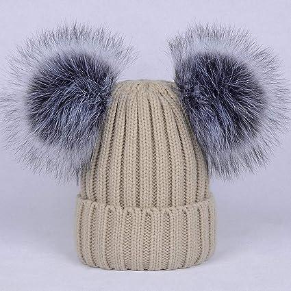 Femmes en Tricot Torsadé Pompon Hiver chaud Chapeau avec grande fausse fourrure Pom-Pom 3 Couleurs