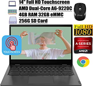 "2020 Latest Lenovo Chromebook S345 14 Laptop Computer 14"" Full HD Touchscreen Display AMD A6-9220C 4GB DDR4 32GB eMMC 256G SD Card AMD Radeon R5 Backlit KB Webcam WIFI Chrome OS + iCarp Wireless Mouse"