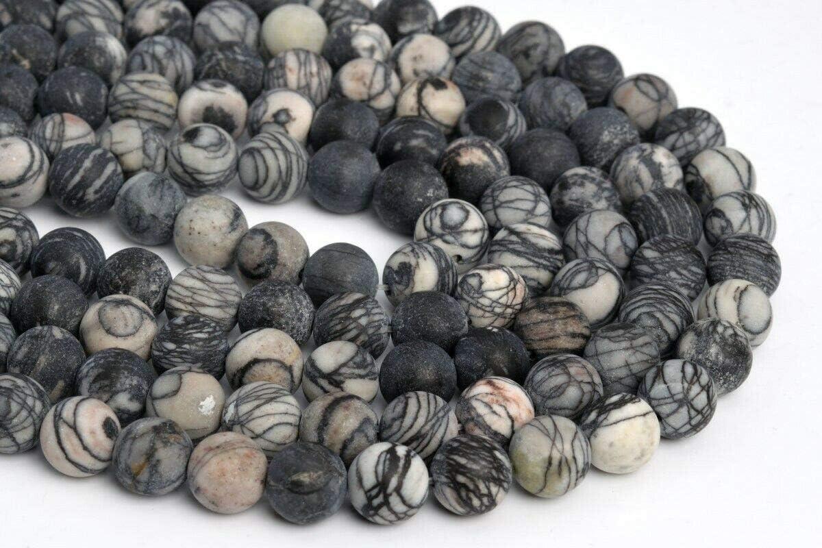 KapOD Beads 10MM Natural Matte Black White Swirl Zebra Jasper Beads AAA Round Loose Bead 15 Loose Beads