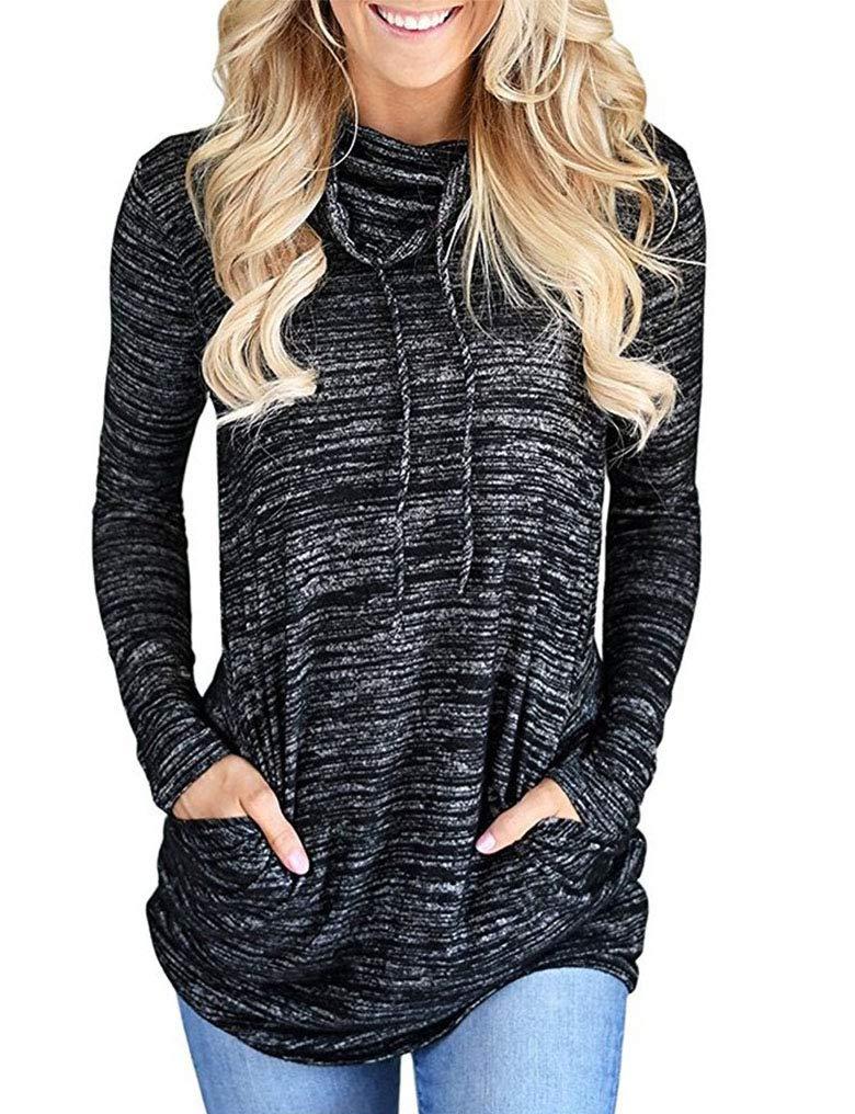 Women's Cowl Neck Striped Long Sleeve Pullover Top Sweatshirt Pocket 3