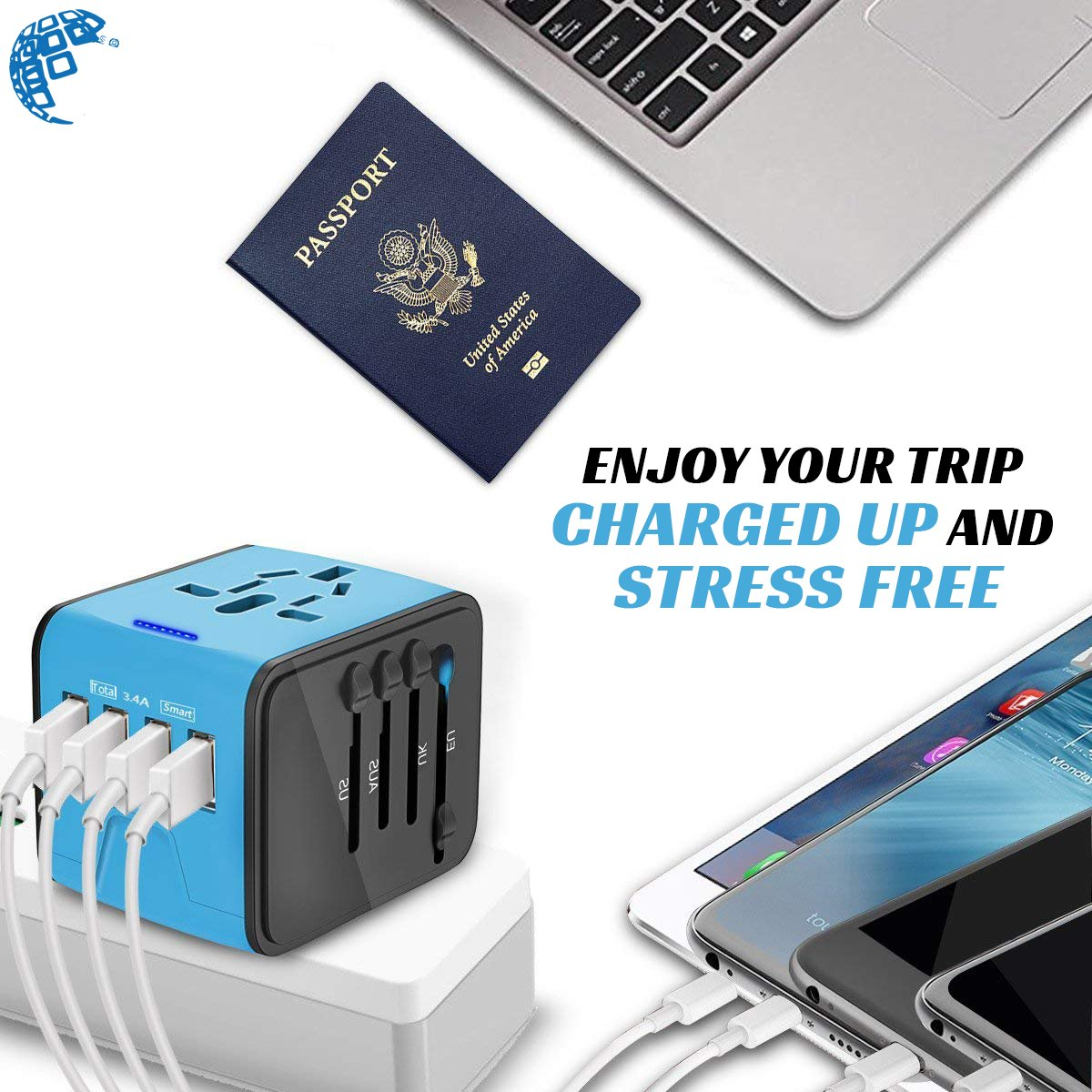 Universal Travel Adapter, International All in One Multi-Nation Worldwide 4-USB Power Charger - Travel to USA Europe Asia and UK Great for iPhone/Smartphones / Laptops & More by Digimad (Image #6)